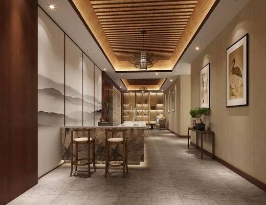 会所, 大厅, 新中式, 吧台