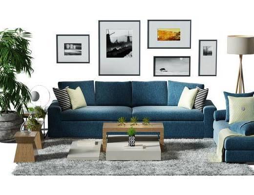 沙发组, 茶几, 盆景, 植物, 画, 挂画, 装饰画, 组合画, 落地灯, 地毯
