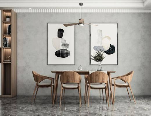 方形餐桌, 吊灯, 柜子, 挂画