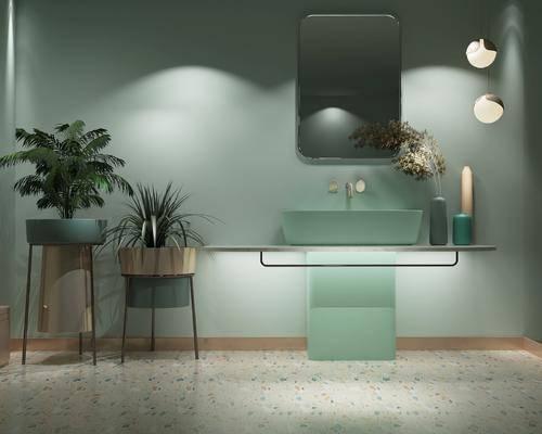 盆栽植物, 洗手盆, 吊灯, 摆件组合