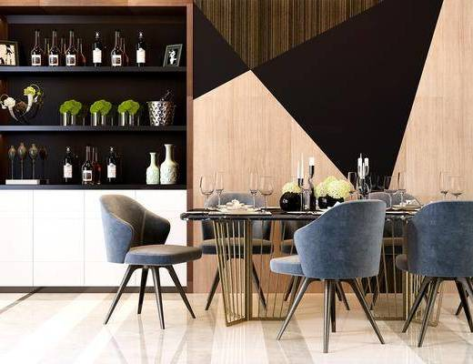 餐桌, 餐椅, 酒柜, 装饰柜, 摆件, 现代