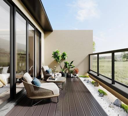 阳台, 露台, 单椅, 植物, 景观小品