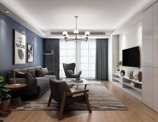 现代简约客厅, 多人沙发, 茶几, 挂画, 盆栽, 边柜, 沙发椅, 现代