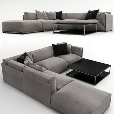 多人沙发, 转角沙发, 茶几, 抱枕, 现代