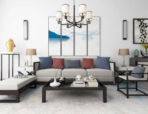 沙发组合, 茶几, 摆件组合, 新中式沙发组合