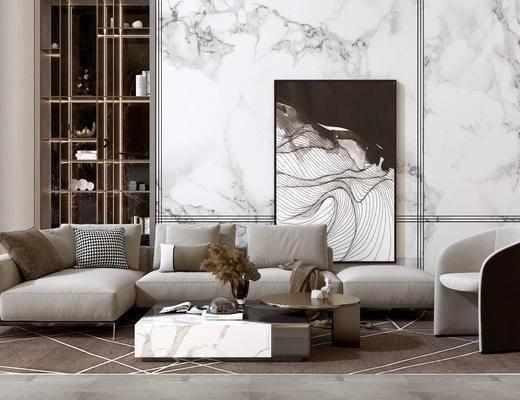 沙发组合, 多人沙发, 转角沙发, 单人沙发, 装饰画, 茶几, 装饰柜, 摆件, 装饰品, 陈设品, 现代