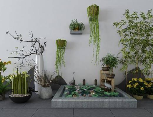 园艺小品, 新中式园艺小品, 绿植, 盆栽