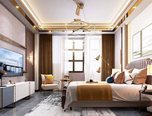 現代臥室, 輕奢臥室, 雙人床, 床具組合, 金屬吊燈, 現代裝飾柜