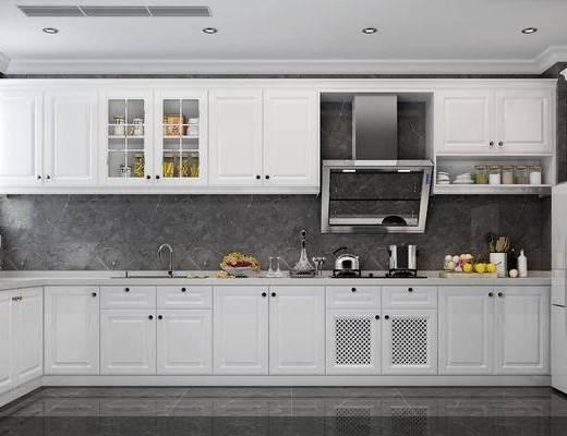 美式, 厨房, 橱柜, 家用电器, 食品, 厨具