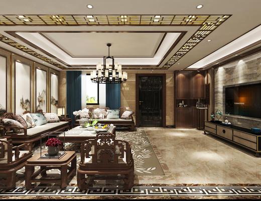 客厅, 中式客厅, 沙发组合, 沙发茶几组合, 中式沙发, 吊灯