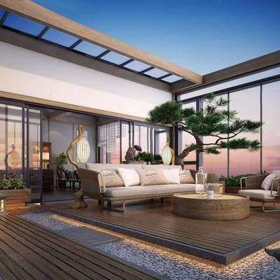 新中式, 新中式露台, 沙发茶几组合, 吊灯, 植物盆栽, 下得乐3888套模型合辑