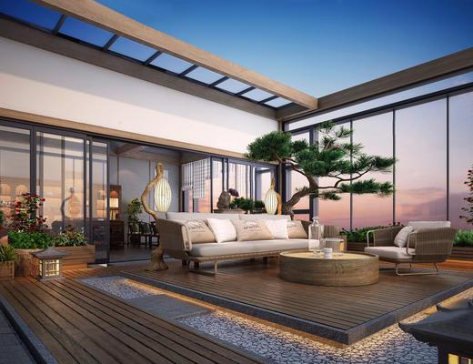 新中式, 新中式露台, 沙发茶几组合, 吊灯, 植物盆栽