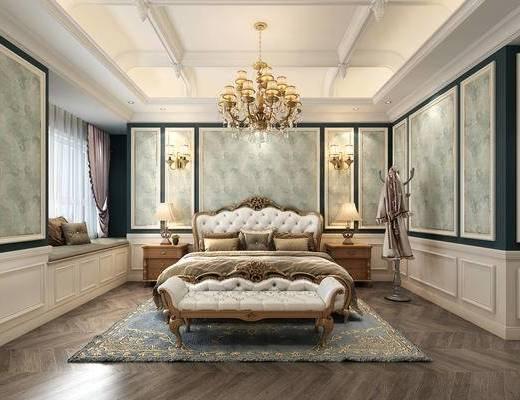 床具, 床榻, 衣架, 地毯, 吊灯, 壁灯, 饰品