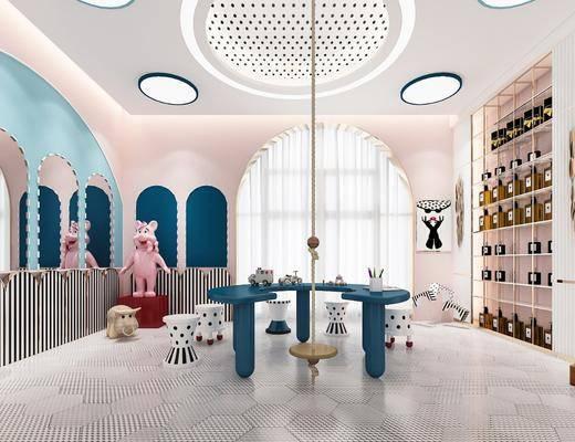 美容院, 化妆区, 吸顶灯