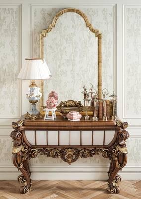 梳妆台, 摆件组合, 端景台, 壁镜