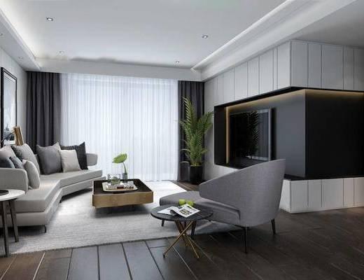 现代客厅, 北欧客厅, 沙发组合, 现代沙发, 沙发茶几组合