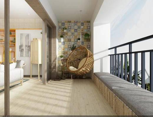 现代, 阳台, 摇椅