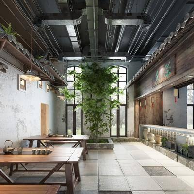 茶桌, 茶馆, 茶具组合, 桌椅组合, 植物