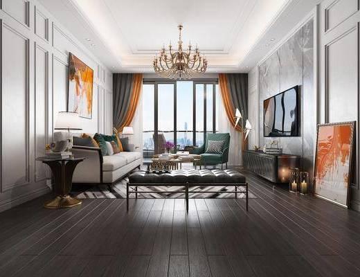 客厅, 后现代客厅, 沙发组合, 后现代沙发, 茶几, 挂画, 摆件, 吊灯, 沙发凳, 后现代