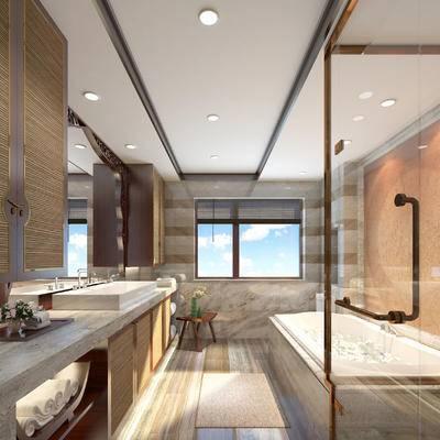 卫浴, 洗手盆, 壁镜, 浴缸