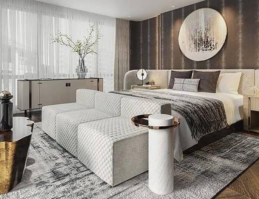 双人床, 床尾踏, 墙饰, 边柜, 单椅, 边几