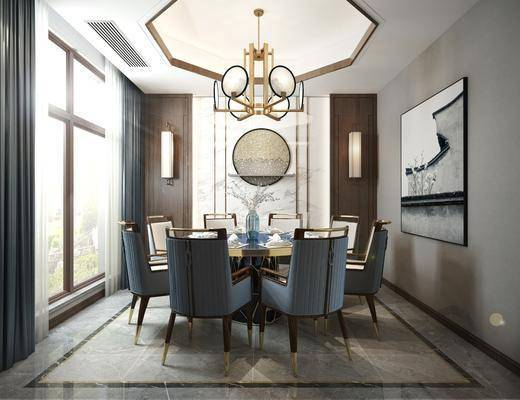 餐廳, 餐桌椅組合, 餐具組合, 新中式