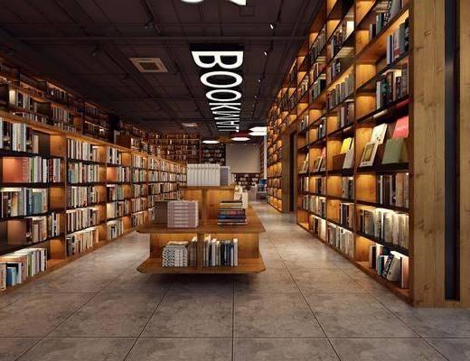 书店, 装饰柜, 书籍, 装饰品, 陈设品, 现代
