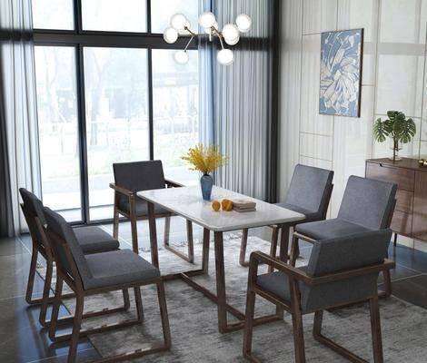 桌椅组合, 餐桌, 餐椅, 单人椅, 吊灯, 装饰柜, 边柜, 装饰画, 挂画, 现代