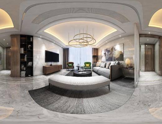 沙发组合, 茶几, 装饰画, 吊灯, 电视柜