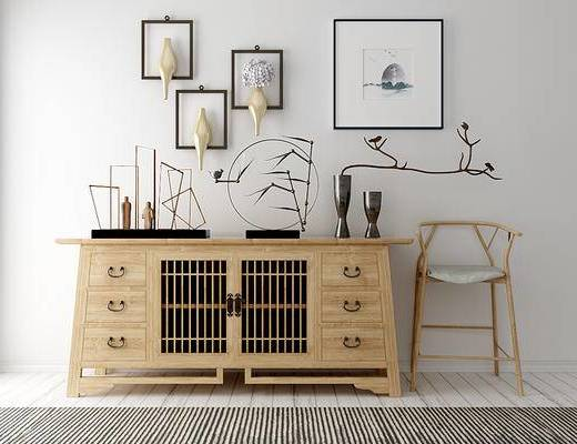 边柜, 单椅, 陈设品, 墙饰, 装饰画, 摆设
