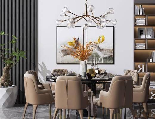 書柜, 水晶吊燈, 掛畫裝飾畫, 綠植盆栽, 餐桌, 桌椅組合