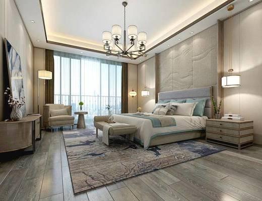 新中式, 新中式卧室, 床, 床品, 吊灯, 单人沙发