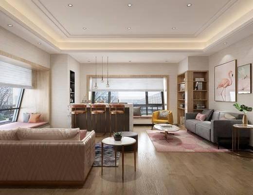 休闲区, 多人沙发, 边几, 装饰画, 装饰柜, 书柜, 双人沙发, ?#21830;? 吧椅, 单人椅, 书籍, 装饰品, 陈设品, 脚踏沙发, 榻榻米, 摆件, 单人沙发, 现代