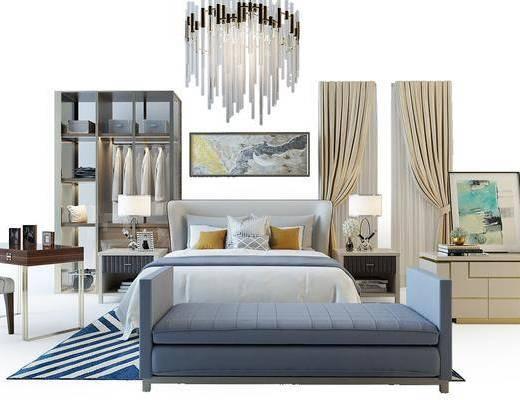 现代双人床, 床尾凳, 吊灯, 办公桌, 边柜, 衣柜, 窗帘, 单椅