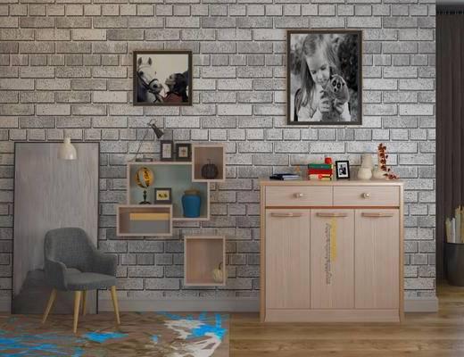 玄关柜, 柜架, 休闲椅, 摆件, 挂画