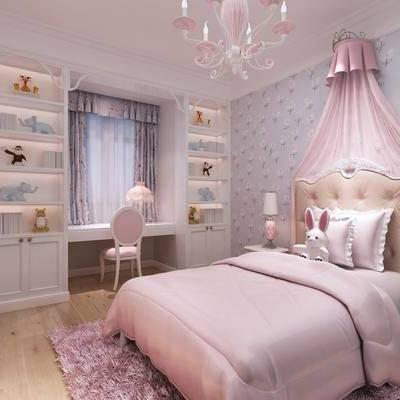 简欧女儿房, 简欧, 女孩房, 公主房, 卧室, 床, 欧式椅子, 书桌, 装饰柜, 床头柜