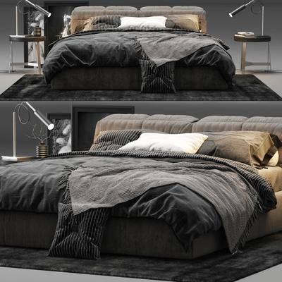 双人床, 床头灯, 地毯, 现代