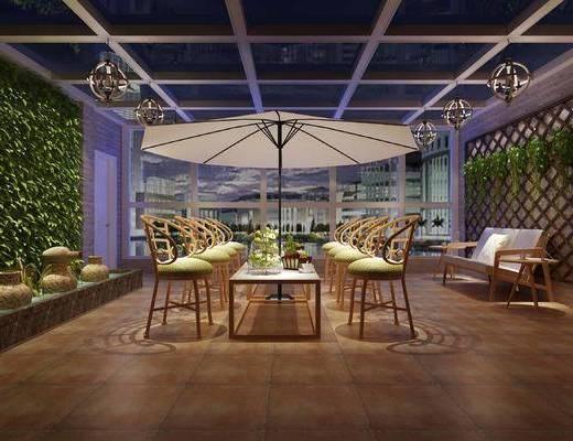 阳台, 露台, 现代, 楼顶花园
