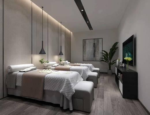 浴足, 单人床, 吊灯, 电视柜, 摆件
