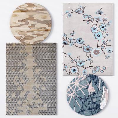 绒毛地毯, 方形地毯, 圆形地毯, 新中式