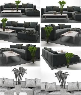 现代, 沙发, 多人沙发, 转角沙发, 茶几, 沙发茶几组合, 沙发组合