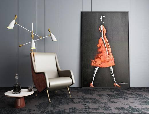 人物画, 装饰画, 挂画, 单人沙发, 落地灯, 边几, 摆件, 现代