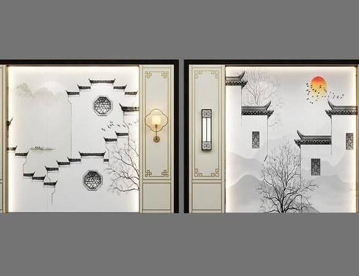 背景墙, 壁灯, 新中式