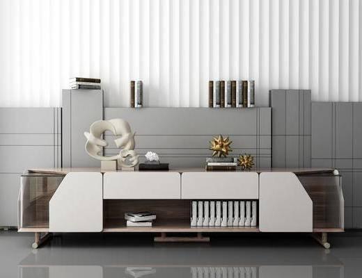 电视柜, 摆件组合, 书籍, 柜架组合