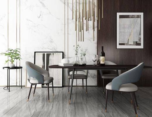 餐桌椅, 桌椅组合, 餐桌, 单人椅, 装饰画, 挂画, 摆件, 装饰架, 装饰品, 陈设品, 盆栽, 北欧