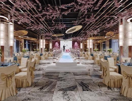 宴会厅, 酒店, 现代宴会厅, 桌椅组合, 餐桌, 花瓶花卉, 餐具, 现代