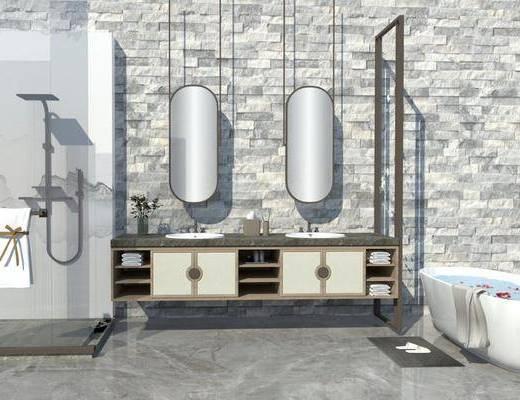 卫浴用品, 洗浴组合, 壁镜, 洗手盆