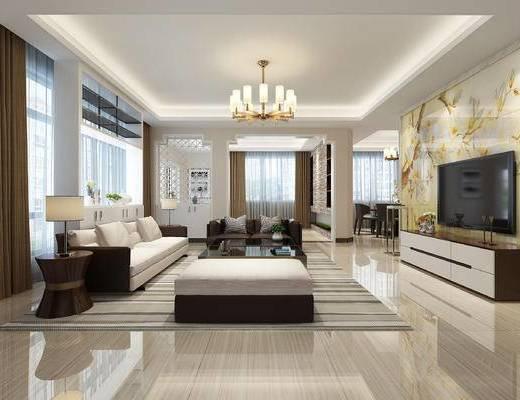 现代客餐厅, 现代沙发, 现代吊灯, 餐桌椅组合, 电视柜, 台灯