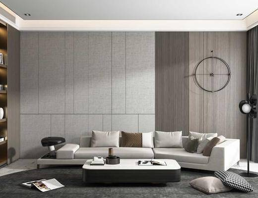 现代沙发, 转角沙发, 茶几, 墙饰, 装饰柜