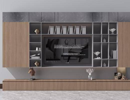 电视背景墙, 电视柜, 装饰品, 陈设品, 摆件, 北欧
